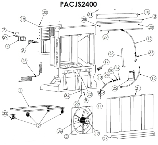 pacjs2400 portacool jetstream    parts list  pacjs2400 portacool jetstream    parts list